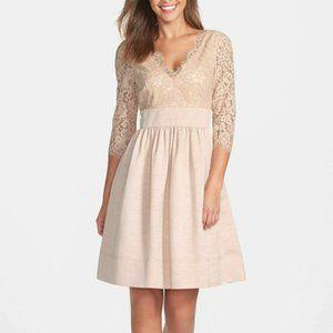 NEW Eliza J Cream Lace Empire Waist Faille Dress 4